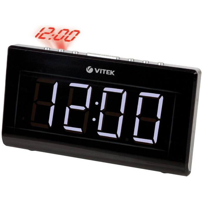 Радиоприемник с часами Vitek VT-3517, кварц, расш. FM, черный