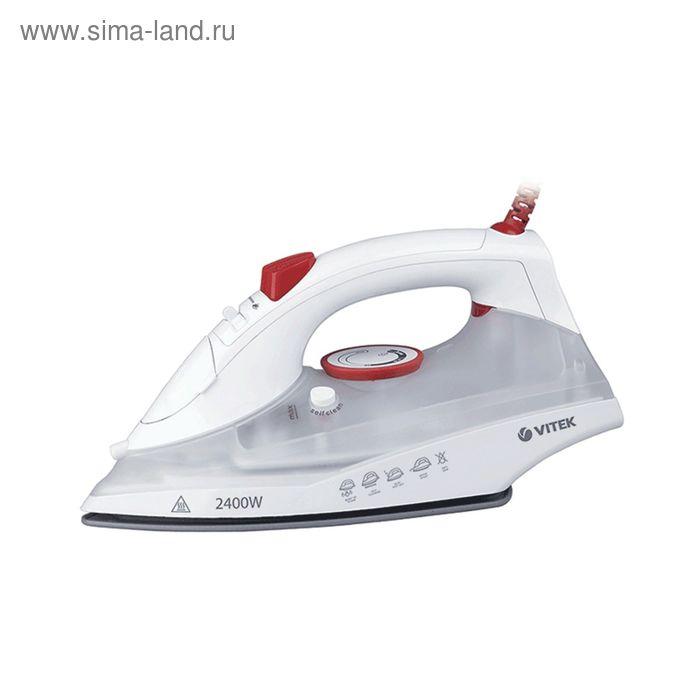 Утюг Vitek VT-1234 W, 2400 Вт, паровой удар, вертикальное отпаривание, керам. подошва, белый
