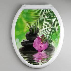 """Сиденье с крышкой для унитаза """"Декор. Орхидея"""", цвет белый"""