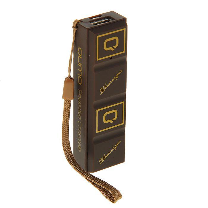 Внешний аккумулятор Qumo PowerAid Chocolate 2.6, 2600 mAh, USB 1 A, вход 1 А, цвет шоколад