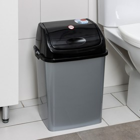 """Контейнер для мусора 18 л """"Камелия"""", цвет серебристый перламутр/черный"""