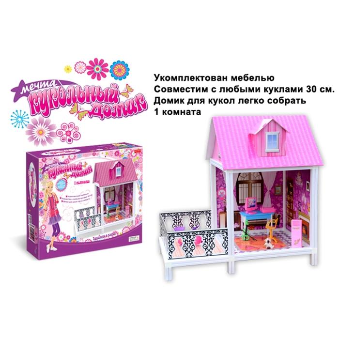 """Дом для кукол,""""Кукольный домик"""", с 1 комнатой и мебелью"""