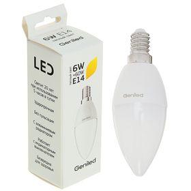 Светодиодная лампа Geniled, E14, C37, 6 Вт, 2700 К, теплый белый