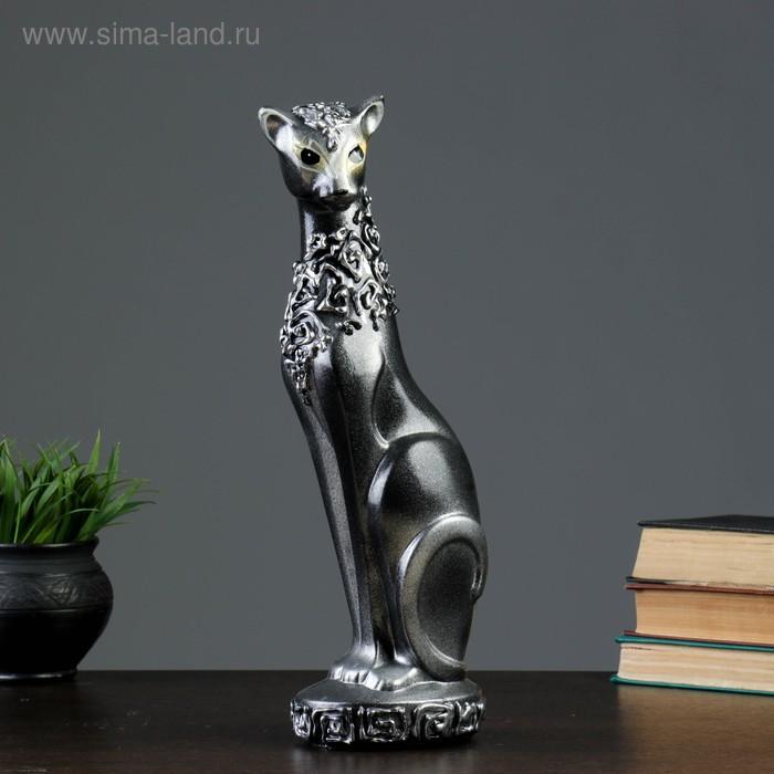 """Сувенир """"Кошка Багира №1"""" орнамент ручная работа черная с серебром"""