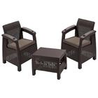 Комплект садовой мебели (2 кресла+ стол) Yalta Weekend, цвет венге