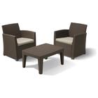 Комплект садовой мебели Corona balcony (ротанг) (2 стула, стол) с подушками