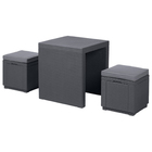 Комплект мебели (ротанг) ARIZONA SET Curver, стол антрацит/серый полиэстр