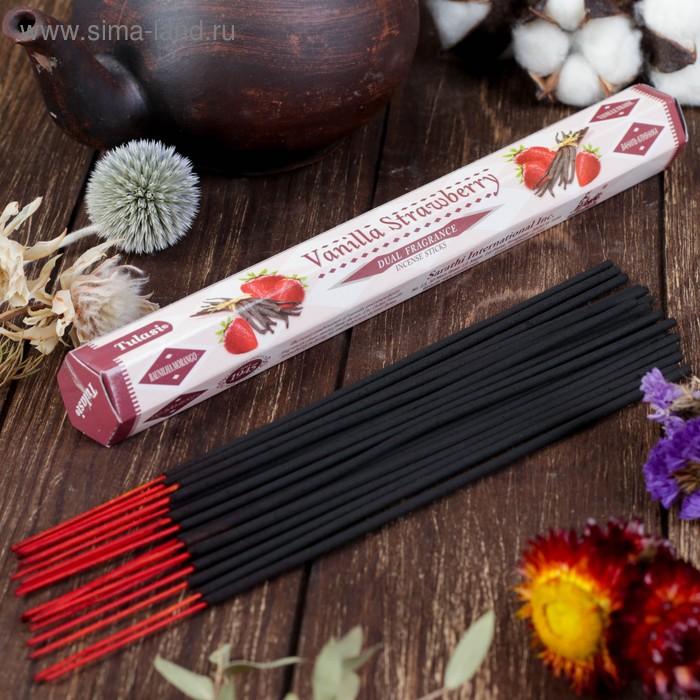 Благовония шестигранник Sarathi Ваниль Клубника Vanilla Strawbery 20 палочек в упаковке