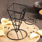 Подставка для картошки фри 16,5x12x18 см, диаметр отверстия под соусник 5,5 см