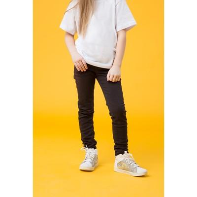 Джинсы для девочки, рост 122 см, цвет чёрный 4158