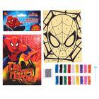 """Фреска-открытка песком """"Ты супер герой"""", Человек-паук + блёстки"""