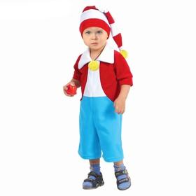 """Карнавальный костюм """"Буратино"""" от 1,5-3-х лет, велюр, комбинезон, шапка"""