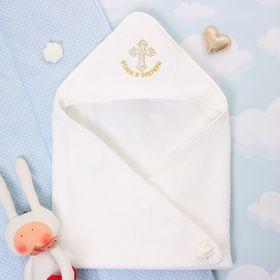 """Детское полотенце с капюшоном """"Крошка Я"""" Крестильное с вышивкой, размер 74 х 74 см"""