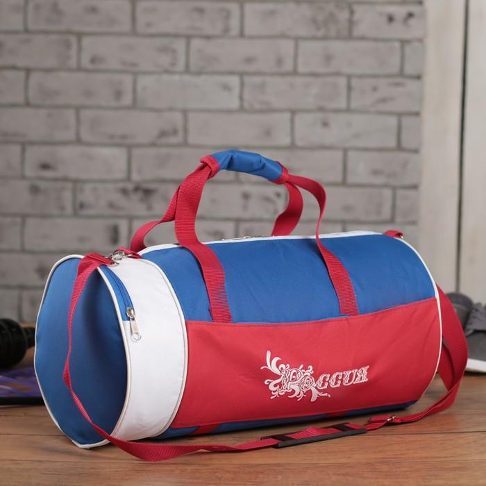 Сумка спортивная, 1 отдел, наружный карман, цвет синий/красный/белый