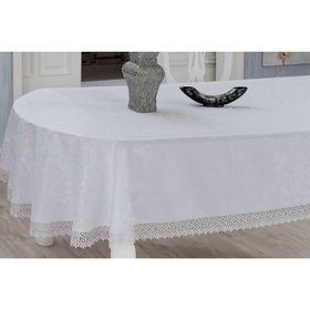 Скатерть KDK с гипюром овальная, размер 160х280 см, цвет белый