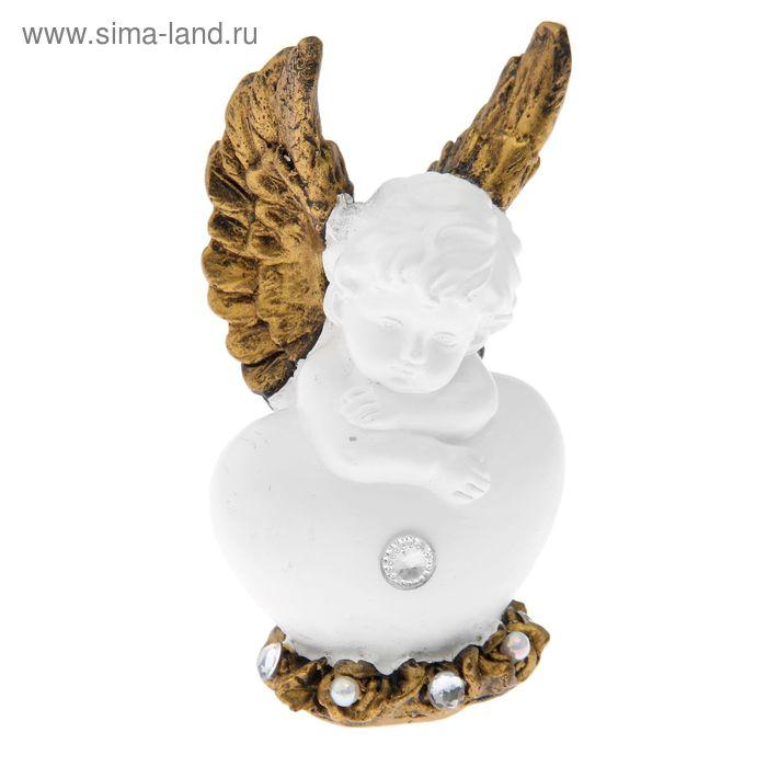 "Фигурка-статуэтка ""Ангел сидячий на сердце"", стразы"