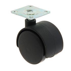 Колесо мебельное на площадке, пластиковое, d=40 мм, черное