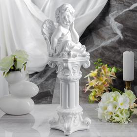 """Сувенир """"Задумчивый ангел на колонне"""" белый"""