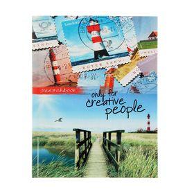 Скетчбук А5, 80 листов 'Деревянный мост и марки', твердая обложка, глянцевая ламинация Ош