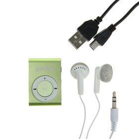 Цифровой MP3-аудиоплеер Perfeo Music Clip Titanium, зелёный Ош