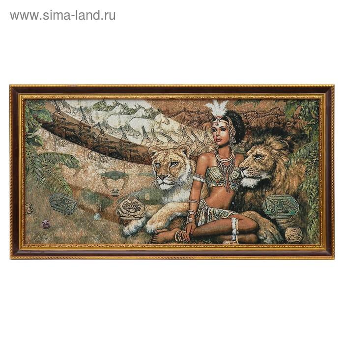 """Гобеленовая картина """"Танцовщица со львами"""""""