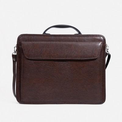 """Сумка-портфель мужская на молнии """"Паритет"""", 3 отдела, наружный карман, длинный ремень, цвет коричневый"""