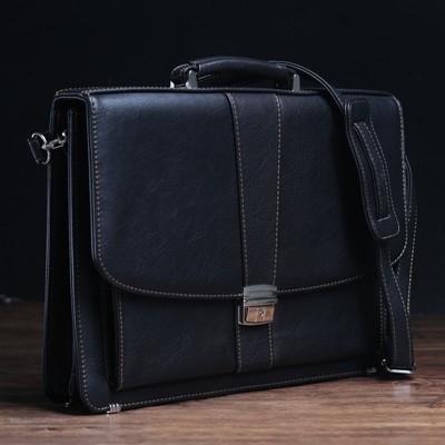 """Сумка-портфель мужская на замке """"Директ"""", 1 отдел с перегородкой, длинный ремень, цвет чёрный"""