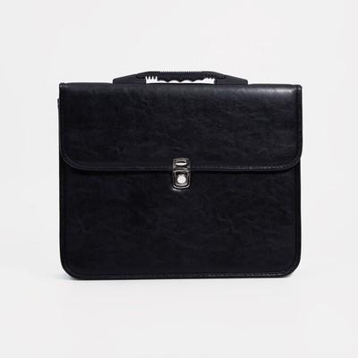 """Сумка-портфель мужская на замке """"Кантри"""", 2 отдела, цвет чёрный"""