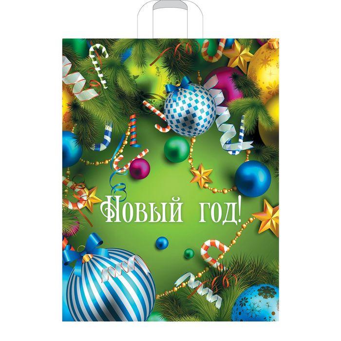 """Пакет """"Новогоднее веселье"""", полиэтиленовый с петлевой ручкой, 40х31 см, 60 мкм"""