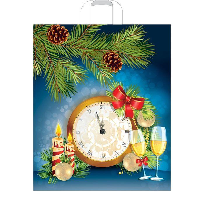 """Пакет """"Новогодние часы"""", полиэтиленовый с петлевой ручкой, 45х38, 60 мкм"""