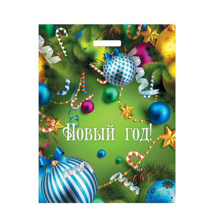 """Пакет """"Новогоднее веселье"""", полиэтиленовый с вырубной ручкой, 40х31 см, 60 мкм"""