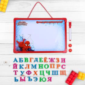 """Доска магнитная """"Уроки для супергероя"""" Человек Паук, алфавит магнитный + маркер"""
