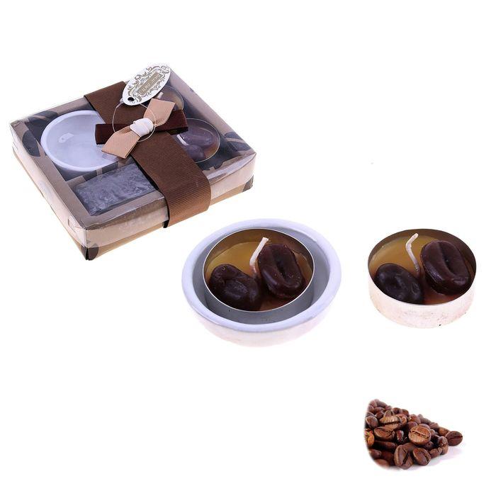 """Свечи восковые (набор 2 шт + подсвечник) """"Кофемания"""", аромат кофе"""