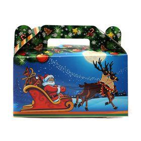 Подарочная коробка 'Дед Мороз в санях и снеговики', сборная, 17.7 х 14 х 6.8 см Ош
