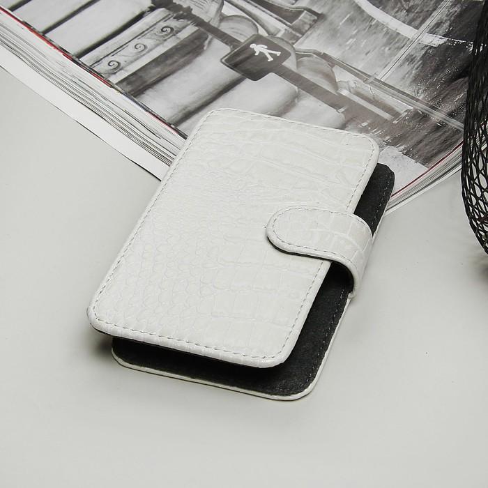 """Чехол-книжка """"Norton"""" для телефона, 3,6""""-4,2"""", с выдвижным механизмом, рептилия, цвет белый"""