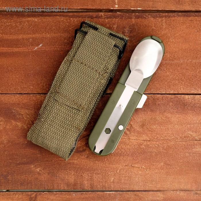 Набор туриста 4в1: нож, ложка, вилка, штопор, в чехле