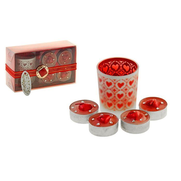 """Свечи восковые (набор 4 шт + подсвечник) """"Страстные сердца"""", цвет красный"""
