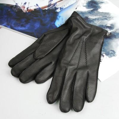 Перчатки мужские, модель №150к, материал - кожа оленя, подклад шерстяной, р-р 25, чёрные