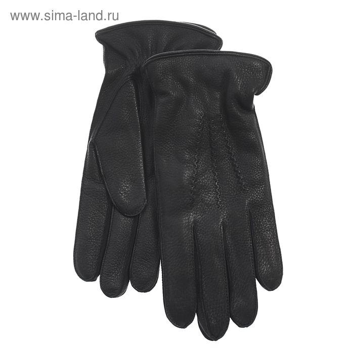 Перчатки мужские, модель №150к, материал - кожа оленя, подклад шерстяной, р-р 22, чёрные