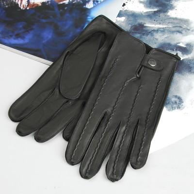 Перчатки мужские, материал - кожа козлёнка, без подклада, цвет чёрный