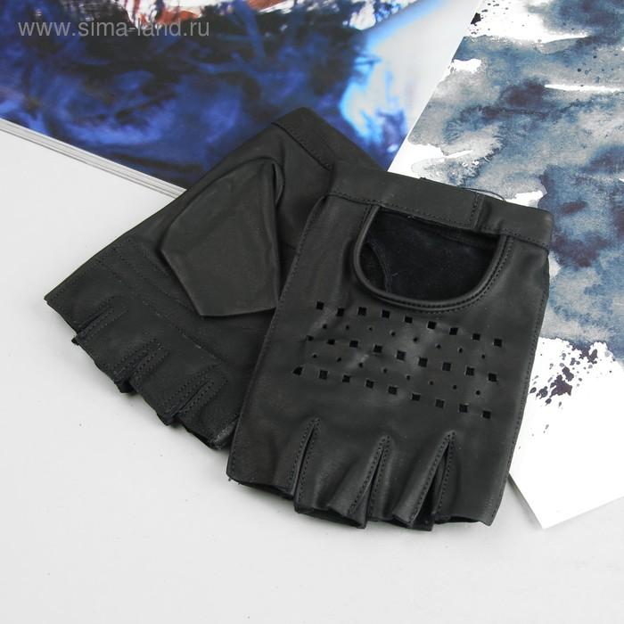 Перчатки автомобилиста, материал - кожа КРС, без подклада, р-р 22, цвет чёрный