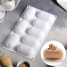 """Форма для выпечки и муссовых десертов, 8 ячеек, 30х17,5х3,5 см """"Раузи"""", цвет белый"""