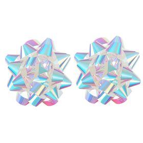 Бант-звезда №10 перламутровый, розовый