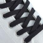 Шнурки для обуви плоские, с пропиткой, d=7мм, 90см, цвет чёрный