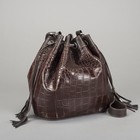 Сумка женская на шнурке, 1 отдел, наружный карман, цвет коричневый