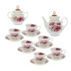 """Сервиз чайный """"Королевский георгин"""", 14 предметов: чайник 800 мл, сахарница 350 мл, 6 чашек 200 мл, 6 блюдец 14 см"""