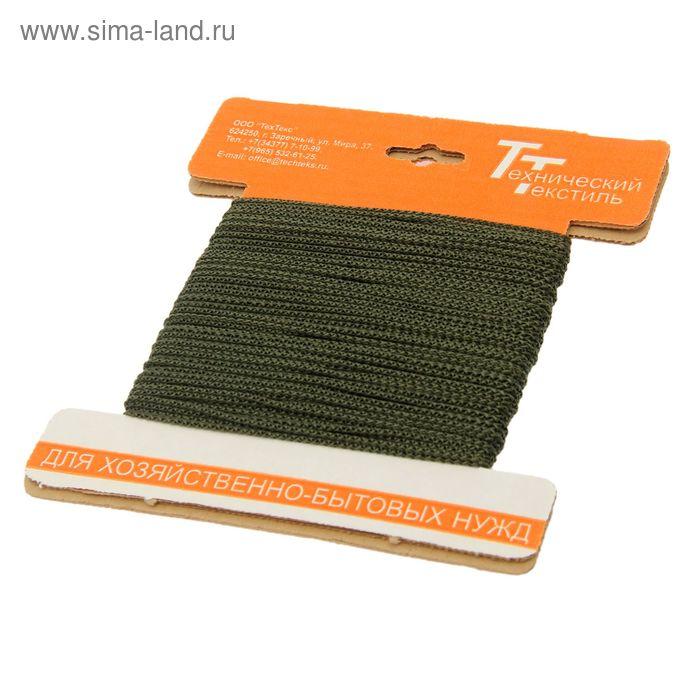 Шнур полипропиленовый, вязаный d=2 мм (длина 30 м), цвет оливковый