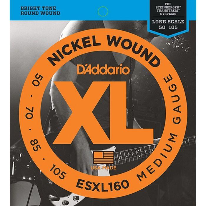 Комплект струн для бас-гитары D'Addario ESXL160 Nickel Wound, Medium, 50-105, шарик на 2 концах   17
