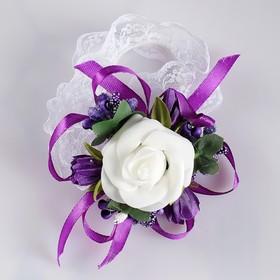 Повязка на руку для подружек невесты «Роза», на резинке, фиолетовая Ош