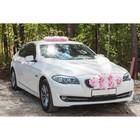 Набор для украшения автомобиля: кольца на крышу, букет на радиатор, 2 ленты на капот 2.3 м, 4 бантика на ручки, бело-розовый